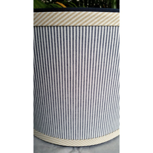 Blue and White Stripe Cotton Off White Trim Coastal Drum Lampshade For Sale - Image 4 of 9