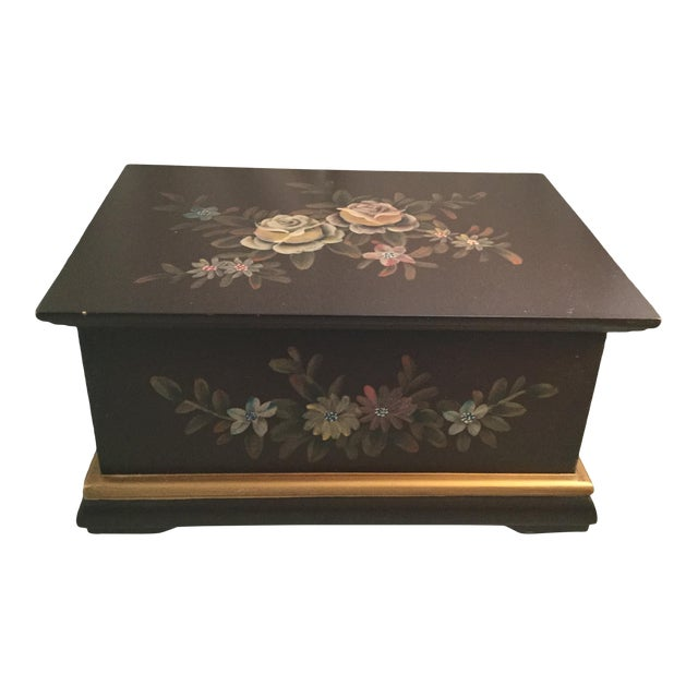 "Floral Decorated Box, 10"" Long, 7"" Wide, 4"" Deep For Sale"