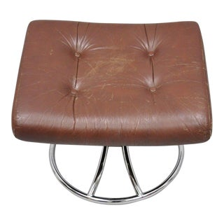Mid Century Modern Brown Leather Tufted Footstool Ottoman Chrome Revolving Base For Sale