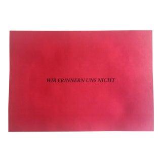 """Felix Gonzalez Torres """"Wir Erinnern Uns Nicht"""" Lithograph, C. 1992 For Sale"""