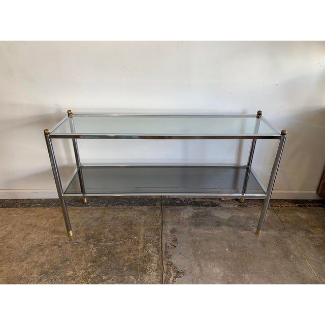 Metal 1970s Mid-Century Modern Chrome & Glass Entry Table For Sale - Image 7 of 7