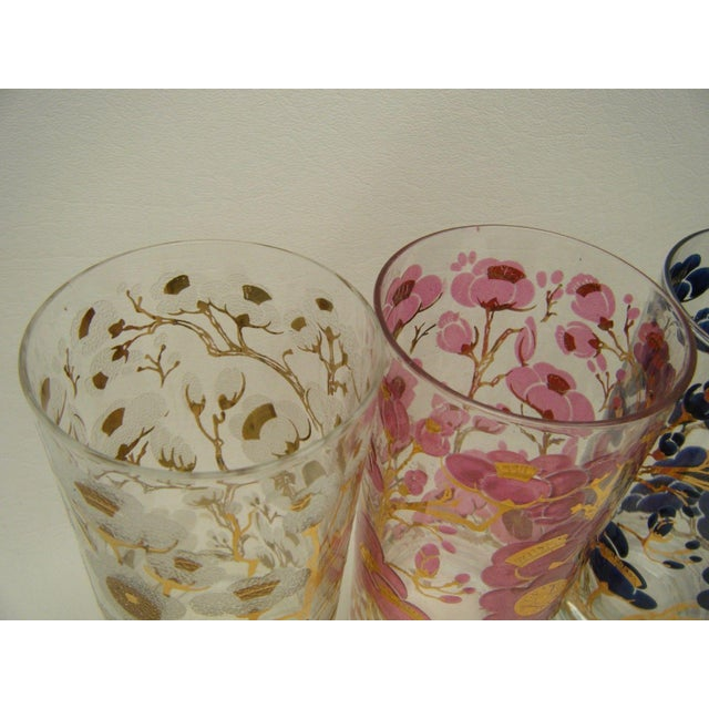 Vintage Fred Press Cherry Blossom Cocktail Glasses - S/4 - Image 4 of 5