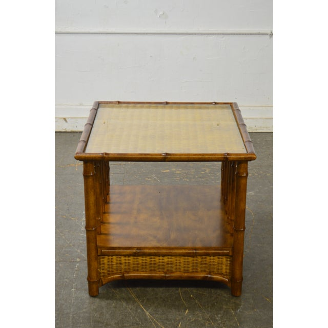 *STORE ITEM #: 18388-fwmr Faux Bamboo & Wicker Side Table by American of Martinsville AGE / ORIGIN: Approx. 40 years,...