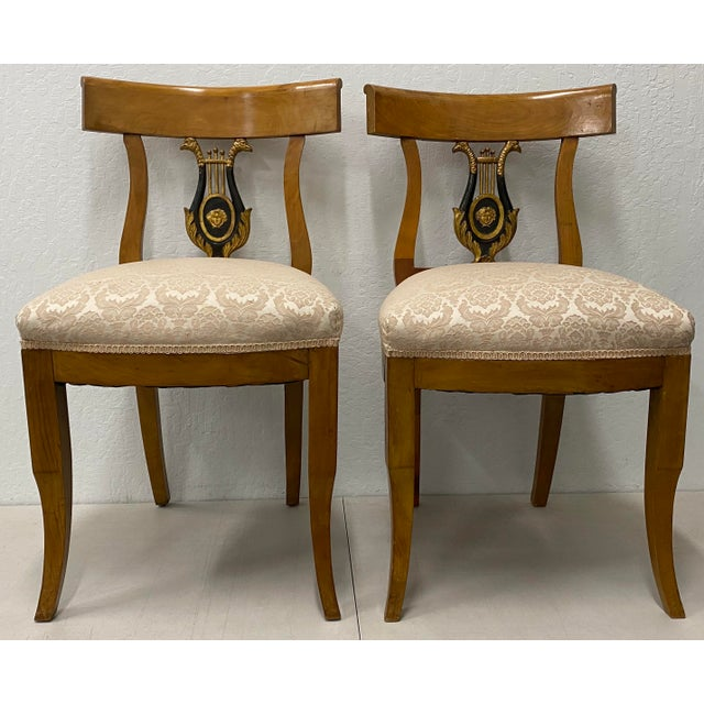 Pair of 19th Century Biedermeier Lyre Back Dining Chairs For Sale - Image 13 of 13