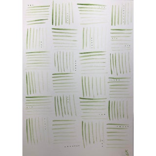Big Wicker Green With Dots #1 Original Watercolor Painting For Sale