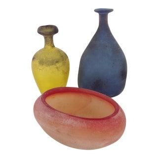 "1960's ""Scavo"" Murano Glass Vases - Set of 3"