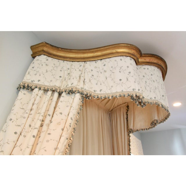 Italian Giltwood Bed Corona W/ Draperies For Sale - Image 4 of 12