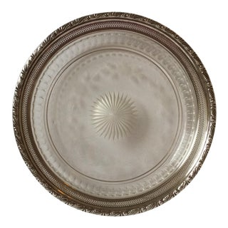 American Cut Glass Platter With Sterling Silver For Sale