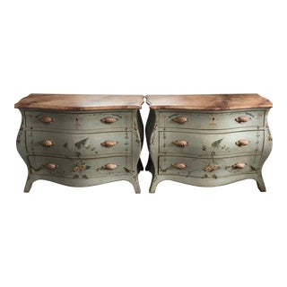 "Italian Hand Painted ""Patina"" Chest of Drawers - A Pair For Sale"