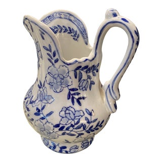 Blue & White Pitcher/Saucer For Sale