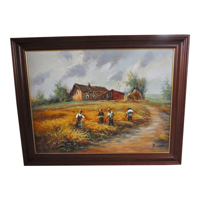 Farmhouse Harvest Original Oil on Canvas - Image 1 of 8