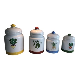 Hand-Painted Ceramic Vegetable Canisters - Set of 4 For Sale