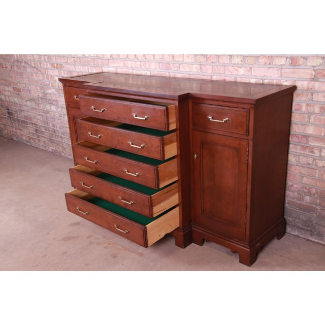 Brown French Provincial Solid Mahogany Marble Top Sideboard Credenza Attributed to Grange For Sale - Image 8 of 13