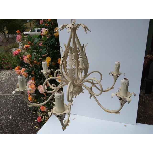 Metal 1980's Scrolling Iron Chandelier For Sale - Image 7 of 9