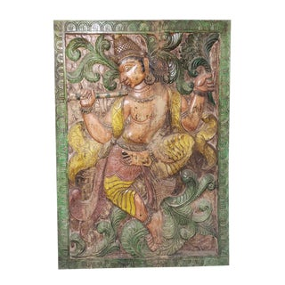 Antique Krishna Wall Art Panel - Krisna Playing Flute For Sale