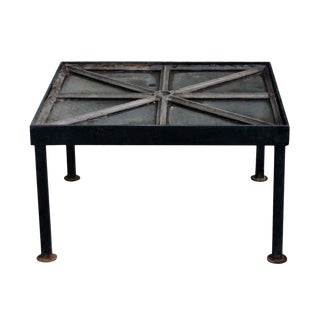Cast Iron Frame Chicken Wire Glass Window Table