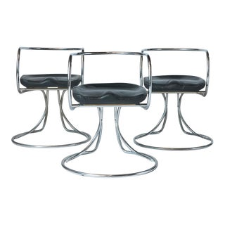 Vladimir Tatlin Tubular Chrome Chairs with Black Leather For Sale