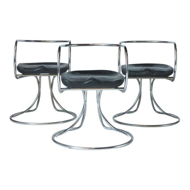 Vladimir Tatlin Tubular Chrome Chairs with Black Leather For Sale