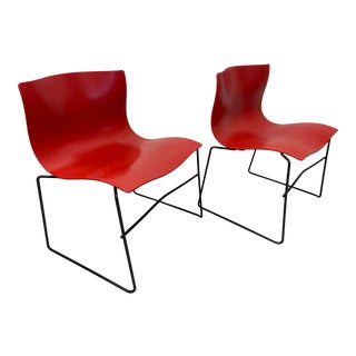 Vintage Massimo Vignelli for Knoll Red Handkerchief Stackable Chairs - a Pair For Sale