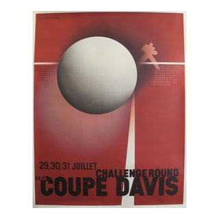 1982 Originally Printed in 1932 - American Sports Poster - Challenge Round - Davis Cup Tennis Competition (Re-Issue) by A. M. Cassandre For Sale