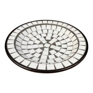 Mid-Century Danish Modern Black & White Tessellated Mosaic Ceramic Bowl For Sale