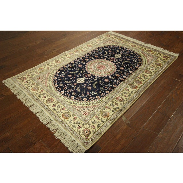 Kashan Silk Midnight Blue-Ivory Rug - 4' x 6' - Image 4 of 8
