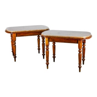 19th Century Victorian Marble Top Walnut Tables - a Pair For Sale
