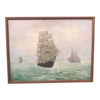 Vintage Seascape Clipper Ship Ocean Oil Painting Signed