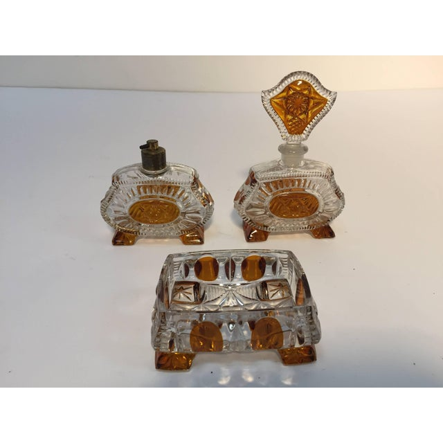 Exceptional luxury Art Deco Bohemian Karl Palda crystal cut vanity set with soap container, perfume bottle and eau de...