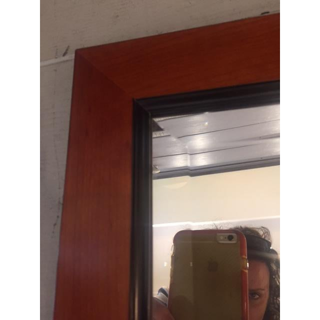 Brown Custom Made Mahogany Framed Beveled Wall Mirror For Sale - Image 8 of 10