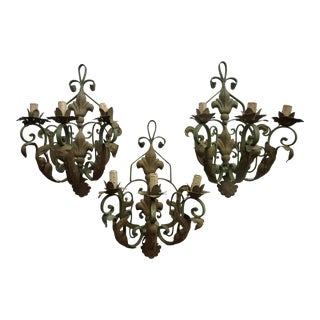 French Iron Sconces - Set of 3 For Sale