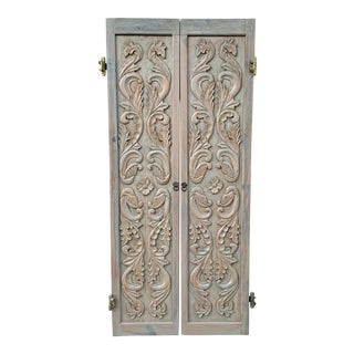 Antique Rococo Style Carved Wood Closet Doors - a Pair For Sale