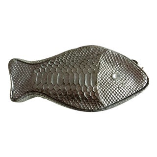 Lulu Guiness Silver Snakeskin Fish Clutch For Sale