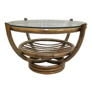 Mid-Century Rattan Glass Top Coffee Table For Sale