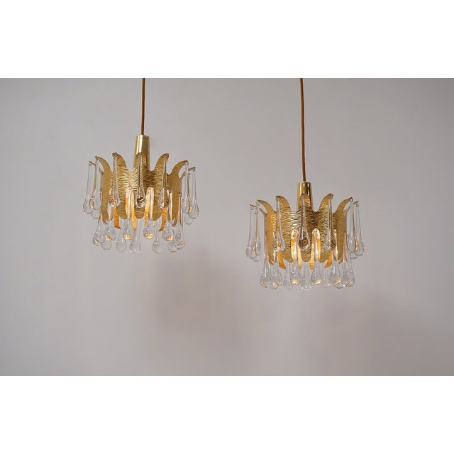 Ernst Palme Pendants for Palwa Gilt Brass & Crystal, 1960's, German - a Pair For Sale - Image 13 of 13