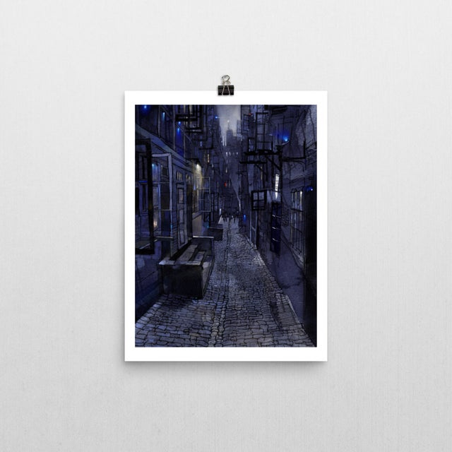 Surrealism Blue Alley Giclee Print For Sale - Image 3 of 4