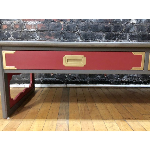 1960s Contemporary Gray & Coral Coffee Table For Sale - Image 4 of 10