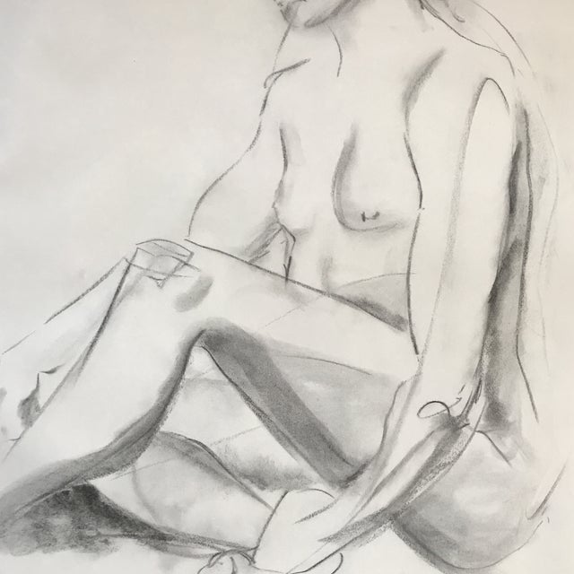 Modern Seated Nude Drawing For Sale - Image 3 of 3