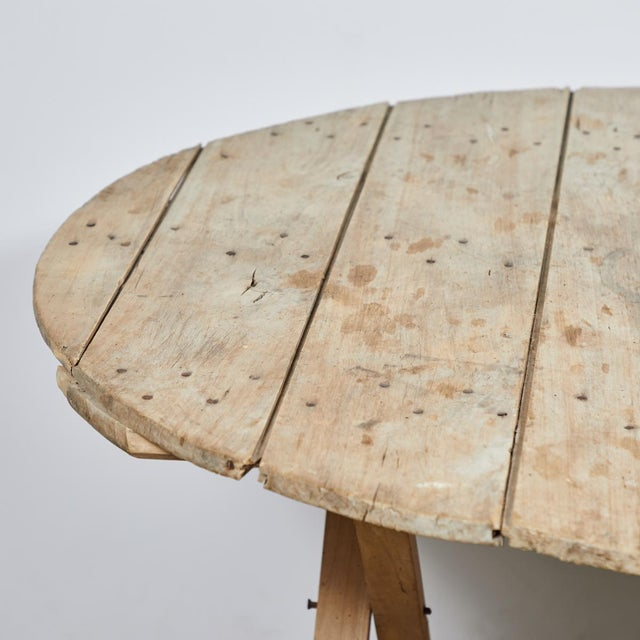 Boho Chic Late 19th Century French Country Folding Champagne Table in Oak For Sale - Image 3 of 6