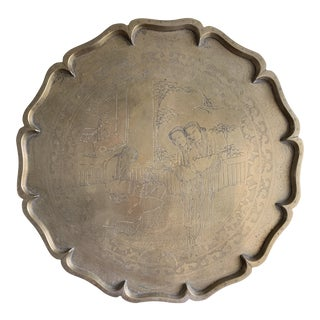 Midcentury Asian Chinoiserie Brass Etched Tray For Sale