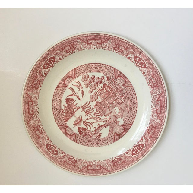 1970s Vintage Willow Ware Red & White Porcelain Plate For Sale - Image 10 of 10