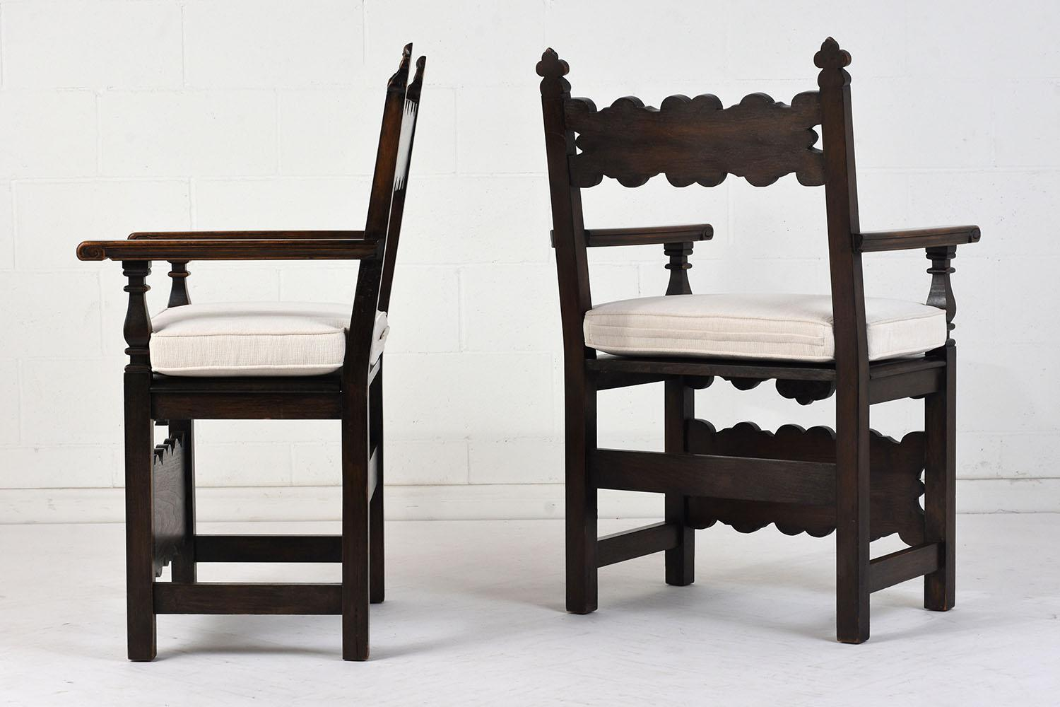 Antique Traditional Spanish Colonial Style Arm Chairs   A Pair   Image 3 Of  8