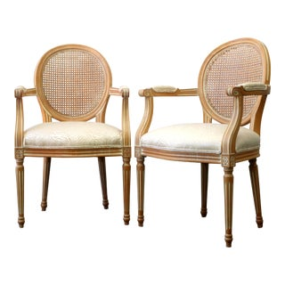 Vintage Newly Upholstered Gold Tonal Zebra Cane Back Chairs - a Pair For Sale