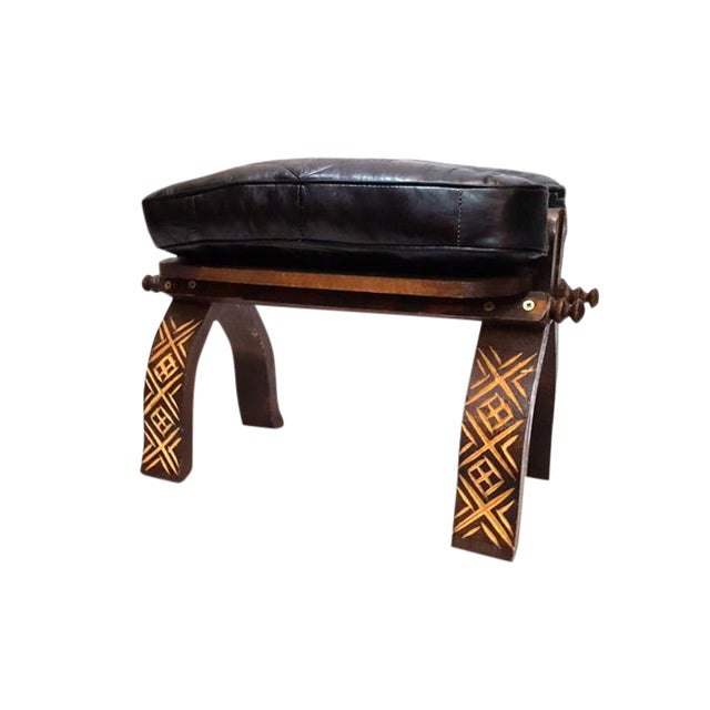 Moroccan Black Leather Footstool For Sale
