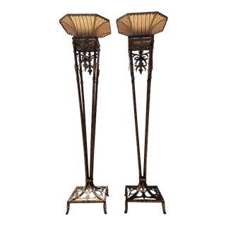 Mid 20th Century Fleur De Lis Torchiere Floor Wrought Iron Lamps - a Pair For Sale