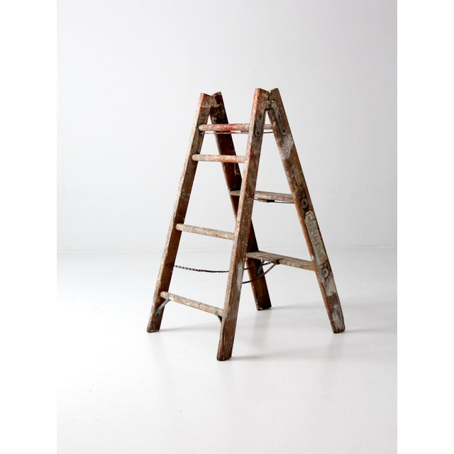 Brown Vintage Wooden Folding Ladder For Sale - Image 8 of 11