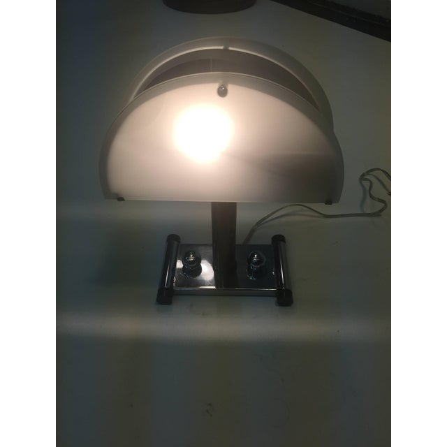 1930s chrome Art Deco lamp with two half circle panels of white glass with bakelite stem and chrome base with Dual chrome...