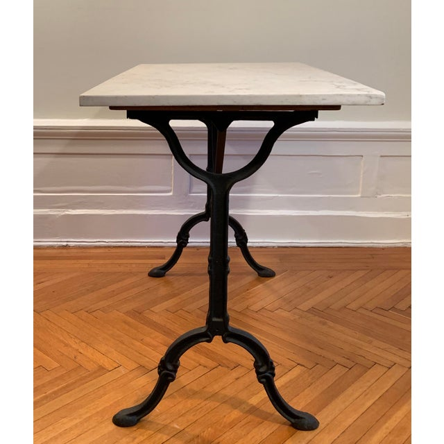 20th Century Traditional Marble Top Table With Cast Iron Base For Sale - Image 4 of 6
