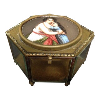 Antique French Glass and Bronze Enamel Trinket Jewelry Box For Sale
