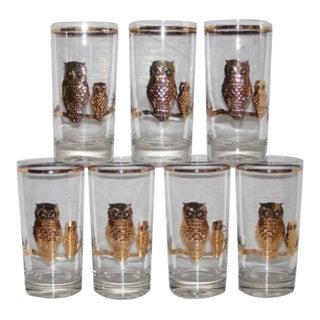 "1950's Mid-Century Modern Culver Ltd. ""Reverse Golden Owls"" Drinking Glasses - Set of 7"